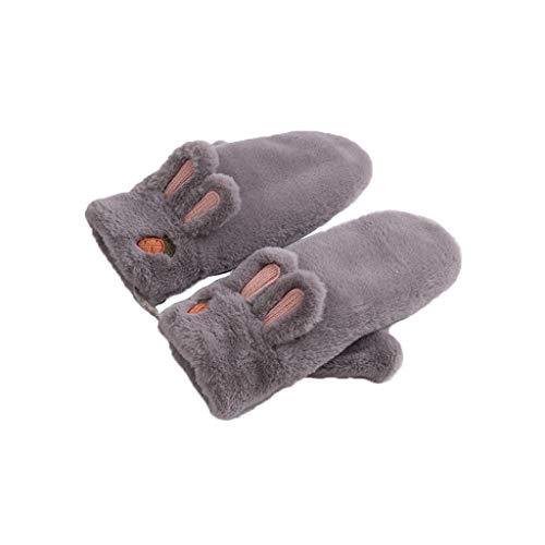 放散するスツール法律によりLIZHIQIANG 手袋、暖かく保つ防風漫画プラス厚いサイクリング手袋、女性の手袋女性の冬かわいい手袋(4色) (色 : Gray)
