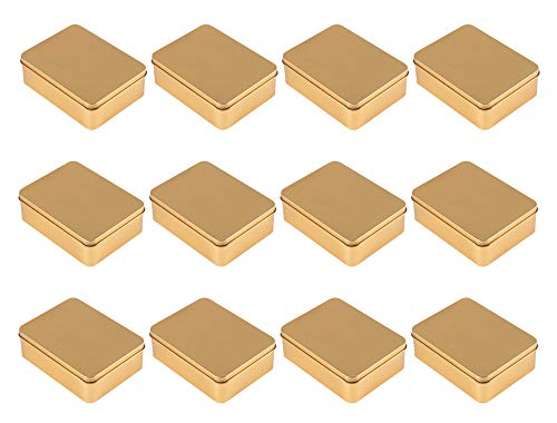 (Juvale Rectangular Tin Box with Lid - 6-Pack Empty Tin Can Storage Container for Treats, Gifts, Favors and Crafts, Gold, 4.9 x 3.7 x 1.6 Inches)