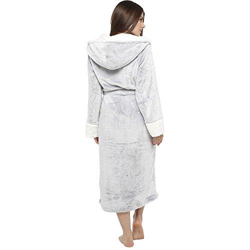 Foderato Cappuccio Dressing Soft Robe Donna Donna Di Luxury Accappatoio Per Grigio Peluche Super Citycomfort regalo Da Pelliccia Con Perfetto Gonna zx0nvFxqY5