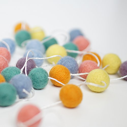100% Wool Felt Ball Garlands 9FT Long 35 Balls - Pastel Soft Spring - Pastel Ball