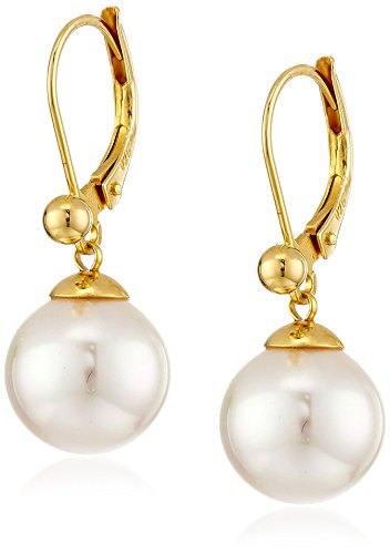 Gold Tone Vermeil Earrings (Majorica Vermeil and White Simulated Pearl Dangle Earrings)
