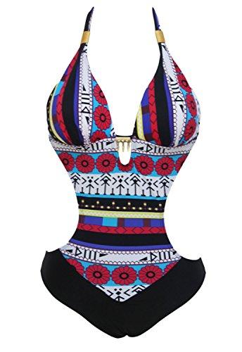Bañador azul multicolor, Impresión, una pieza, bañadores, Trikini anudado, talla M 38