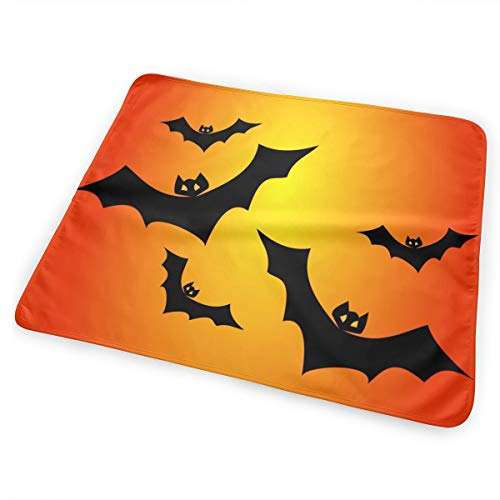 Mintslove Portable Changing Baby Diaper Pad, Waterproof Pad Baby, Soft Urine Pads Absorbent Washable Mattress Change Mat for Infant - Halloween Bats Vector Clipart Illustration(65x80cm)]()