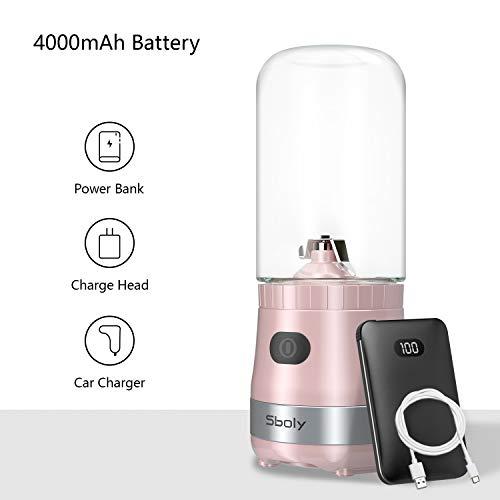 Mini Mélangeur Portable USB Rechargeable avec 2 Bouteilles Tritan Sans BPA, Mélangeur Personnel pour Smoothies et Milk Shakes, Petit Mélangeur de Jus pour le Bureau et les Voyages par Sboly (Rose)