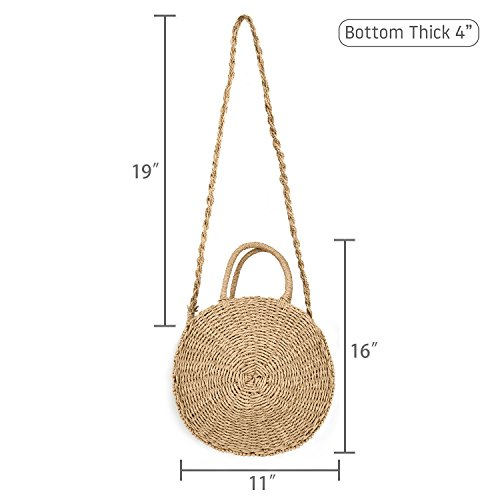 paille la Les ronde à été femmes à bandoulière main sac de de bandoulière QTKJ rotin sac plage à sac tissé sac Satchel Messenger wqzFEdxP