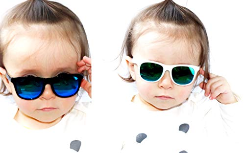 Kd3056 Baby infant Toddlers 0~36 month old 80s Hipster sunglasses Glasses (Pack of 2(Black-blue mr&White-emerald mr), UV400) ()