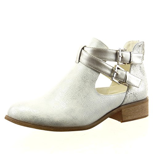 Sopily - Zapatillas de Moda Botines chelsea boots abierto Tobillo mujer brillante tanga Hebilla Talón Tacón ancho 3.5 CM - Plata