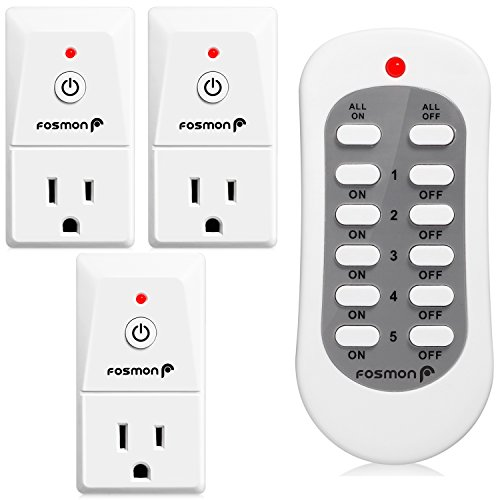 Wireless Remote Control Outlet (3 Pack), Fosmon 3-Prong Indoor Electrical Plug-In Light Switch [3 AC Power Outlet |1 Wireless Remote Control] Household Appliances ETL Listed - White