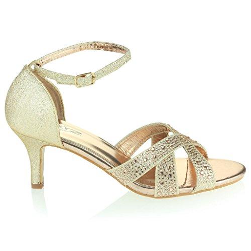 Mujer Señoras Resplandecer Punta Abierta Correa Tacón Medio Noche Fiesta Boda Prom Diamante Nupcial Sandalias Zapatos Talla Champán