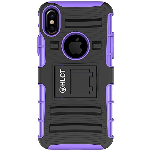 Price comparison product image iPhone X Case,  HLCT Rugged Shock Proof Dual-Layer Case with Built-In Kickstand (Purple)