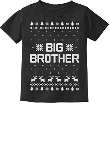 Tstars - Big Brother Ugly Christmas Sweater Boys Sibling Toddler Kids T-Shirt 4T Black