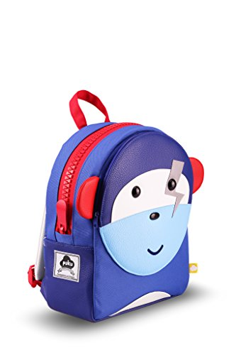Puku Pals Premium Monkey Kids Blue Backpack Bag for Boys and Girls