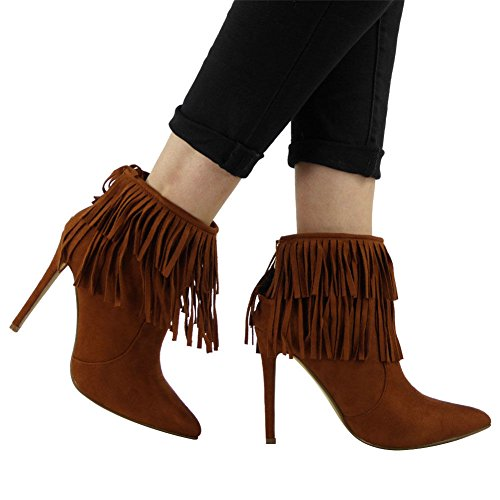BOOTS TOE TASSLE SHOES SIZE HEEL STILETTO NEW ANKLE Tan LADIES POINTED ZIP WOMENS qZ4wIzIO
