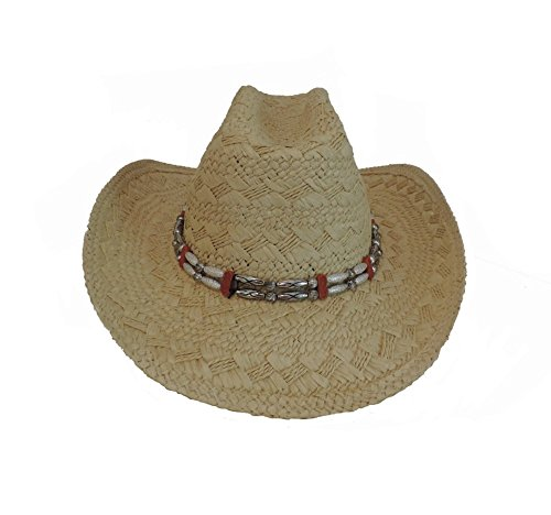 Cowboy Western Toyo Hat BEIGE with Beaded Hat Band
