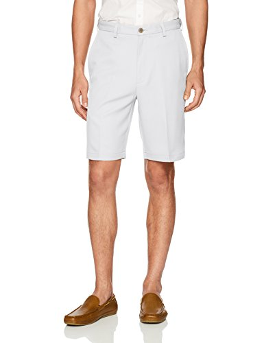 Elastic Waist Bealls Shorts - Haggar Men's Cool 18 Pro Straight Fit Stretch Solid Flat Front Short, White, 42