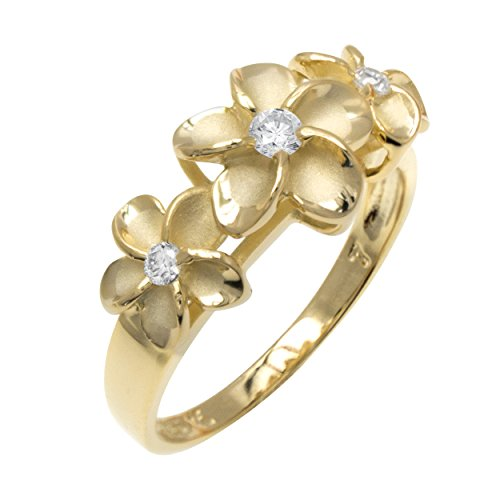 Three Plumeria Ring with 14K Yellow Gold Finish over Sterling Silver(9)