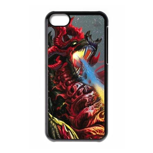 H2X40 flammes de dragon N2A4YX cas d'coque iPhone de téléphone cellulaire 5c couvercle coque noire DB1NOW4VH