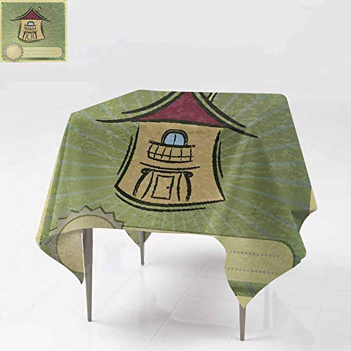Fbdace Custom Tablecloth,Vintage Postcard with Illustration of Homes for Sale eps10 Table Cover for Kitchen Dinning Tabletop Decoratio 50x50 -