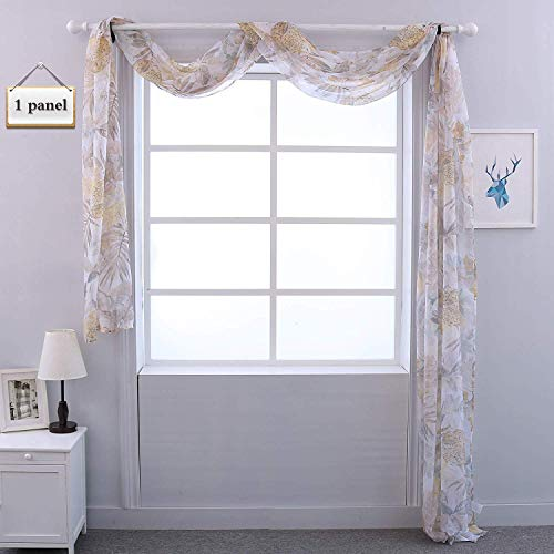 (HOLKING Sheer Window Scarf - Floral Window Scarf Valances for Wedding/Party/Outdoors Decoration,216 inches Long)