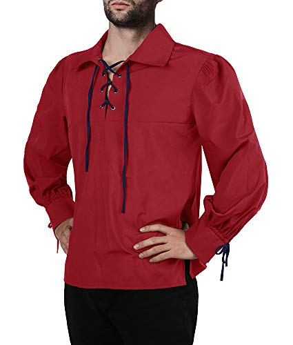 (Karlywindow Men's Medieval Pirate Lace Up Stand Collar Wide Cuff Costume Shirt Tops)