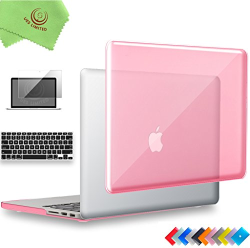 UESWILL 3 in 1 Glossy Crystal Hard Case for MacBook Pro (Retina, 13 inch, Late 2012/2013/2014/Early 2015), Model A1502/A1425, NO CD ROM + Keyboard Cover and Screen Protector, Pink