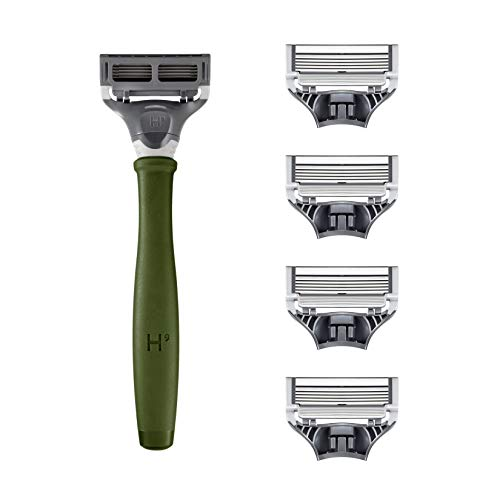 Harry's Razors for Men – Men's Razor Set with 5 Razor Blade Refills, Travel Blade Cover, 2 oz Shave Gel (Tropical Green)