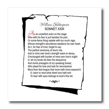3dRose Alexis Design - Poetry Shakespeare Sonnets - Sonnet 23. As an unperfect Actor on The Stage - 8x8 Iron on Heat Transfer for White Material (ht_305668_1)