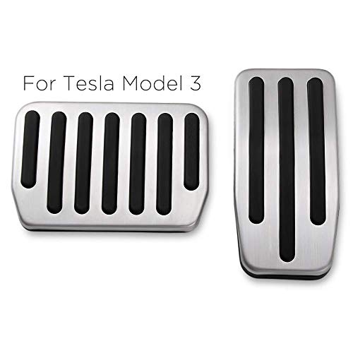 - RangerRider Model 3 Non-Slip Performance Foot Pedal Pads Covers fit, A Set of 2 Auto No Drilling Aluminium Alloy Accelerator and Brake Pedal Cover for Tesla Model 3
