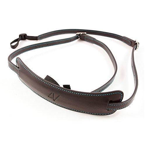4V Design Lusso Tuscany Leather Medium Handmade Leather Camera Strap w/Universal Fit Kit, Black/Cyan (2MP01BVV0930)