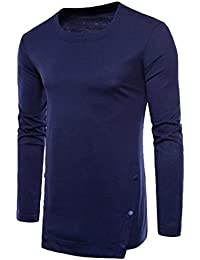Mens Longline Button Long Sleeve Crew Neck Solid Color T-Shirt Tee