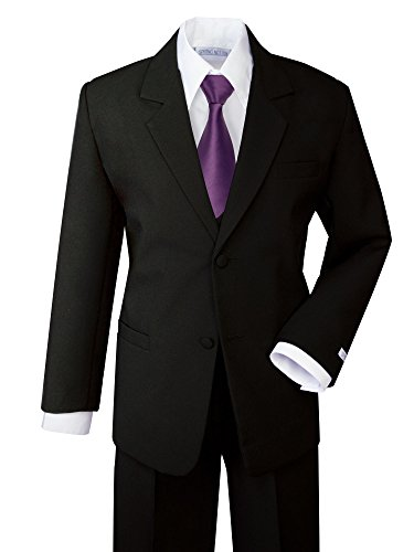Spring Notion Boys' Formal Dress Suit Set 7 Black Suit Dusty Purple Tie