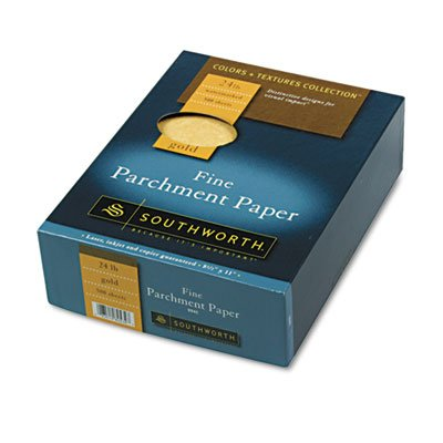 - Parchment Specialty Paper, Gold, 24 lbs., 8-1/2 x 11, 500/Box, Sold as 1 Box