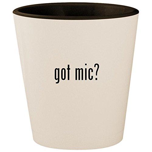 got mic? - White Outer & Black Inner Ceramic 1.5oz Shot Glass ()