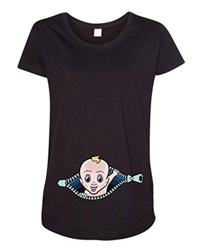 Baby Boy Zipper Cute Maternity DT T-Shirt Tee (Large, Black)