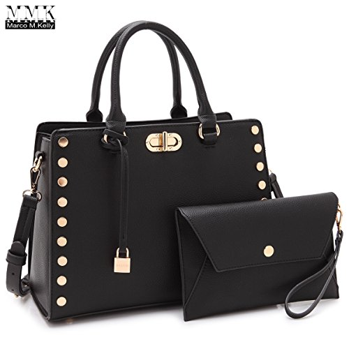 MMK Collection Fashion Women Vegan leather Satchel Handbags with Matching Coin Purse~Studded Deco and Dangling Padlock~Pretty and Cute Gift for Ladies~Clutches &handbag Set (MA-7579-BK)