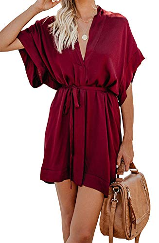 BTFBM Women V Neck Button Down Short Sleeves Floral Print Casual Summer Dress with Belt (31_Wine Red, ()