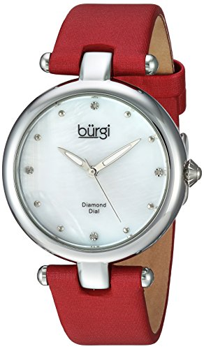 Burgi Women's Quartz Stainless Steel and Leather Casual Watch, Color:Red (Model: BUR169RD)