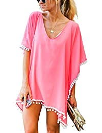 e49fe04cbd Women's Pom Pom Trim Kaftan Chiffon Swimwear Bathing Suit Beach Cover Up  Free Size Coral Pink