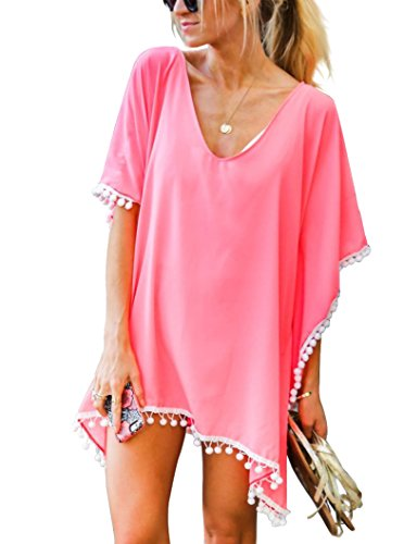 Adreamly Women's Pom Pom Trim Kaftan Chiffon Swimwear Bathing Suit Beach Cover Up Free Size Coral Pink
