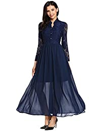 ANGVNS Women's Long Sleeve Lace Floral Chiffon Party Dress Evening Gown
