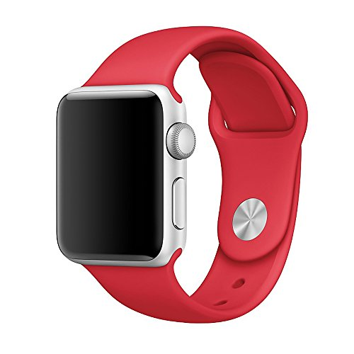 Vteyes Apple Watch Sport Band, Soft Silicone Replacement Strap For Apple Watch Series 1 Series 2 (Red, 42MM S/M)