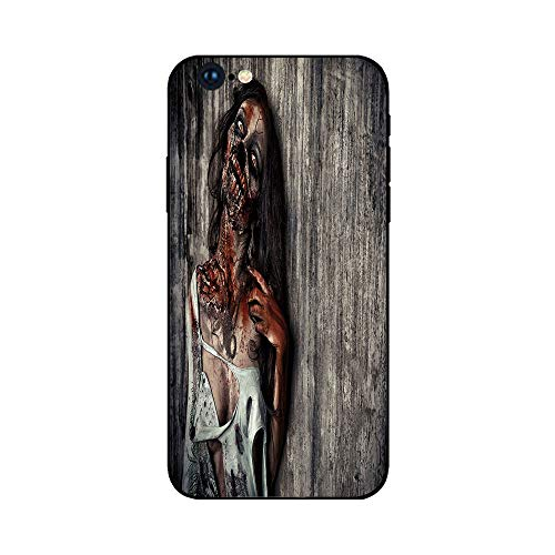 Phone Case Compatible with iphone6 Plus iphone6s Plus mobilephoneprotectingshell Brandnew Tempered Glass Backplane,Zombie Decor,Angry Dead Woman Sacrifice Fantasy Mystic Night Halloween Image Decor
