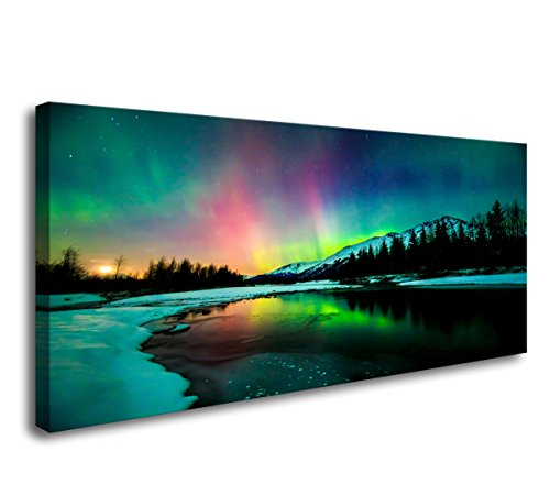 S01950 Wall Art Aurora Scenery Painting on Canvas Stretched and Framed Canvas Paintings Ready to Hang for Home Decorations Wall ()
