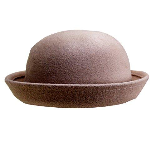 9aec5dbe6e8 Editha Girls Roll-up Brim Woolen Fedora Fashion Dome Bowler Hat Spring  Autumn Winter Casual