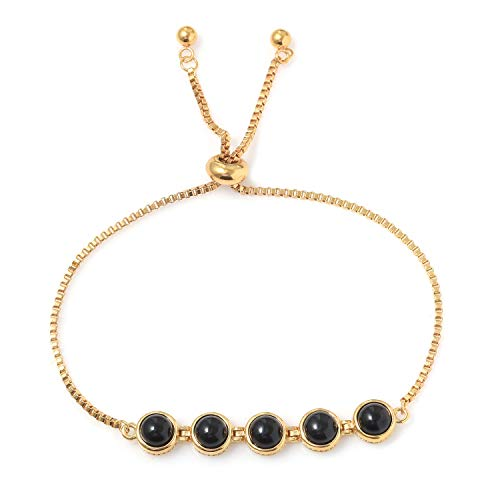 Shop LC Delivering Joy Black Onyx Magic Ball Bolo Tennis Bracelet for Women ION Plated 18K Yellow Gold Jewelry Adjustable Size 7.50