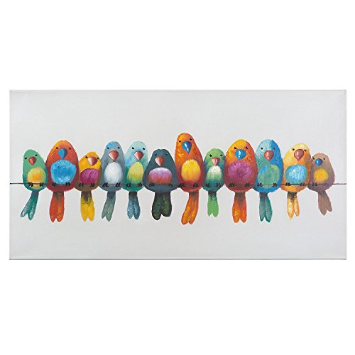 Abstract Canvas Wall Art Spray-Painted Birds on a Wire I Wild Life Painting with Frame, 18x36 Inch