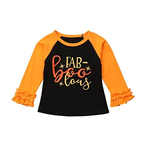 Toddler Little Baby Girl Halloween Pumpkin Raglan Ruffle Long Sleeve T-Shirts (2-3Y, Yellow 1)