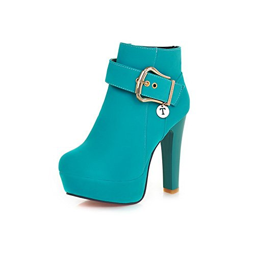 A&N Womens Chunky Heels Metal Ornament Buckle Frosted Boots Green 0fgxpX