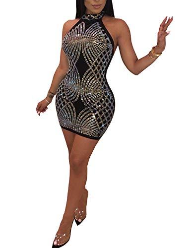 (Nhicdns Women's Sexy Halter Neck Rhinestone Mesh See Through Sequins Sheer Bodycon Backless Bodycon Cocktail Mini Dresses)