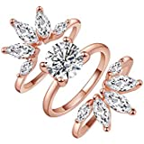 SR Women's Rings Rose Gold Rings 3PCS Rings Set CZ Bands Ring Enhancers Wedding Engagement Rings Floral Cubic Zirconia Marquise Guard Rings for Women Girl,Size 5-9